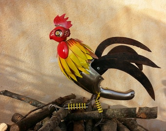 GAUL in recycling, to hang like a painting, furniture and design, recycling art, rooster