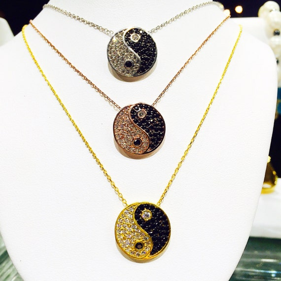 yin yang necklace sterling silver cubic zircomia ON SALE NOW