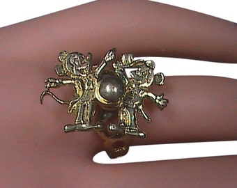 Collectible The 70'S 10k Solid Yellow Gold Movable Mickey Mouse Ring