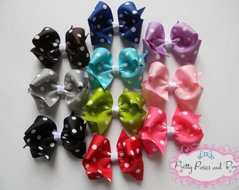 Polka Dot Hair Bow Package, Hair Bow Package, 3 inch Hair Bow, Girl Gift, Baby Shower Gift