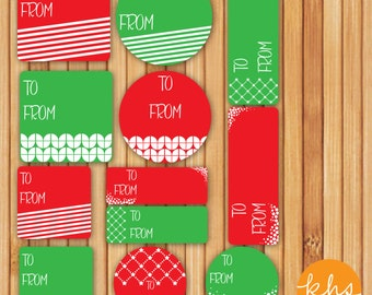 INSTANT DOWNLOAD Digital Printable Christmas Tags - Christmas Tags Red and Green Design Variations