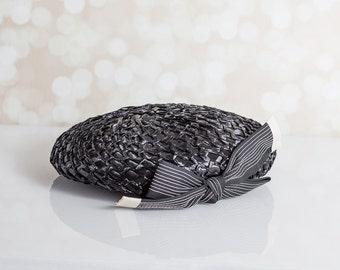 Cute Black Straw Hat with Grosgrain Ribbon