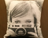Photographer throw pillow made from a repurposed graphic tee