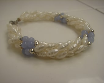 Freshwater Pearl and Crazy Lace Agate Bracelet 307a