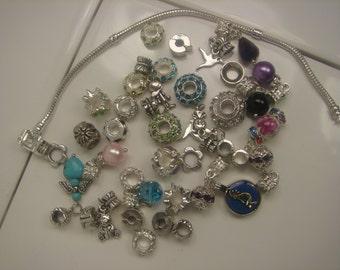 Silver Tone Charm Bracelet W/ 38 Charms 222