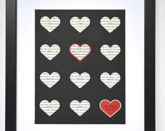 International Love Gift- Love Definition, Paper Hearts of Love Languages, Wedding Ideas and Decor, Paper Anniversary Gifts