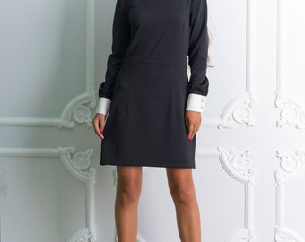 Black with white dress Peter Pan collar LBD dress Short sleeve dress autumn