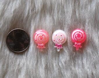 Girly Swirl Sprinkle Confetti Lollipop Candy Flatback Resin Cabochon -3pcs