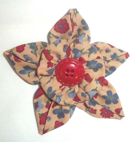 Fabric Flower Brooch or Pin in Deep Red Country Blue and Tan