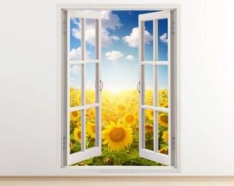 Sunflower wall decal vertical 3D window, sunflower field wall sticker landscape wall sticker, meadow wall art print sunflowers sun sky [012]