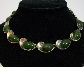 Green bakelite and chrome vintage necklace - American signed Charel - retro cool!