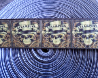 Steampunk Skull Grosgrain ribbon