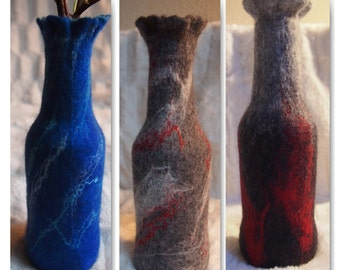 Decorative felted vase / bottle