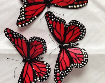 Red & Black Monarch Butterfly brooch or hairclip