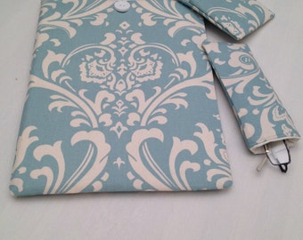 "Macbook 11""  padded sleeve /Macbook 11"" retina case ./   Made in Maine /blue and white damask/eyeglass case/change purse"