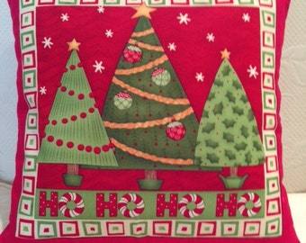 Holiday Red Christmas Tree Pillow Cover