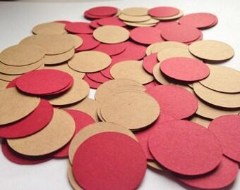 200 Dark Red and Kraft Paper Confetti, Wedding Confetti, Paper Circles, Table Decor, Party Decor