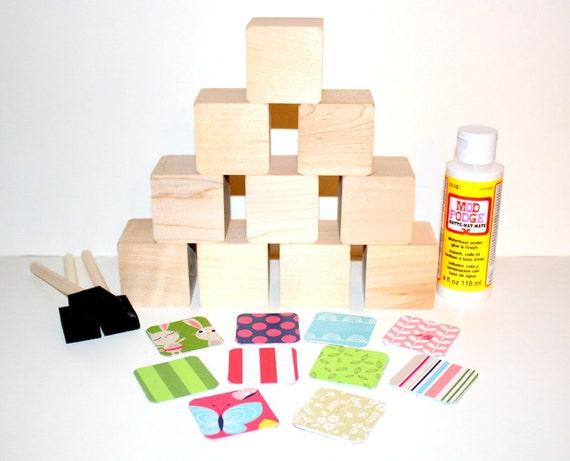 Diy baby shower craft baby girl wooden baby blocks pink for Child craft wooden blocks
