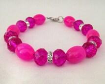 Pink beaded bracelet, Swarovski crystal bracelet, pink bracelet, beaded bracelet, hot pink bracelet