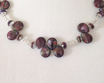 Purple beaded necklace, purple necklace, beaded necklace