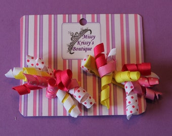 Baby Girl Korkey Hair Bow Hair Clips, Pink and Yellow