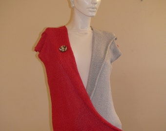 Machine  Knitted Sleeveless Red  and Silver Elegant Blouse with Unique Button .