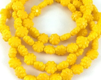 SALE - Bright Yellow Czech Pressed Glass Flower Beads, Flat Yellow Daisy Beads, 9mm - 10 beads (FL-13)