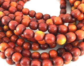 Natural Redwood Beads, Red Wooden Mala Beads, Round Sibucao Wood Beads, Round Redwood Beads, Sappan Wood Beads, 5-6mm - 65 beads (W6-09)