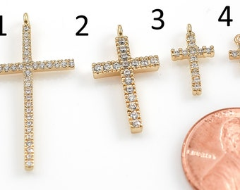 Assorted Gold Cross CZ Pave Pendant