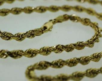 MINTY -- Vintage 14KT. Solid Yellow Gold Diamond-Cut Rope Chain - 21.3 grams