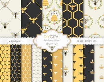 "Bee Digital Paper Set: ""Queen Bee"" - 15 Printable digital papers for scrapbooking, invites, cards - 12""x12""  300dpi- Instant Download"