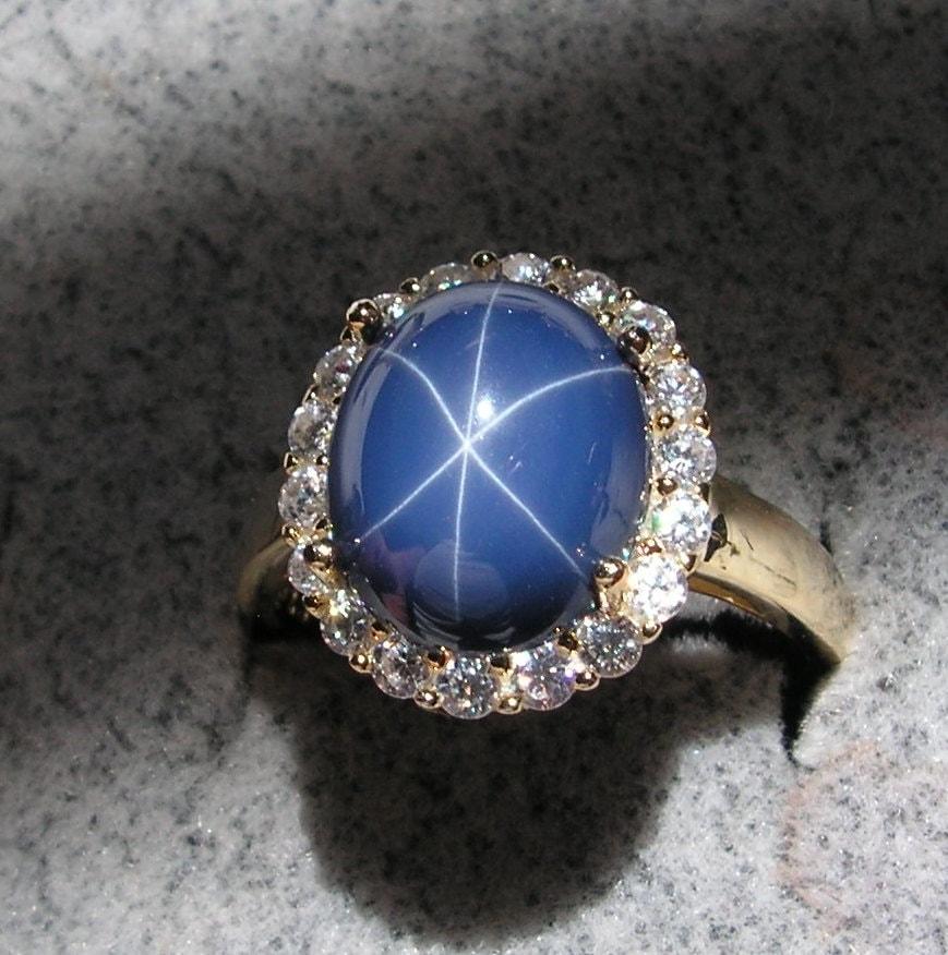 Vintage Linde Lindy Cornflower Blue Star Sapphire Created