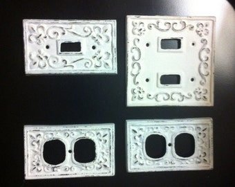 Cast Iron  Switch Plate Cover Set  of Twelve (only eight pictured) Fleur de Lis -  Home Decor