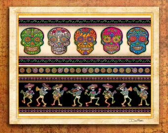 "Sugar Skulls Art by Artist Dan Morris titled ""Carnivale de los Muertos"". Day of the Dead, All Saints Day, Sugar Skull decor,skull decor"
