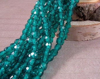 LAGOON DROPS 4mm Firepolish Viridian Czech Glass Faceted Rounds - Teal Green Emerald Pine Green Dark Teal - Qty 50 (4-041)