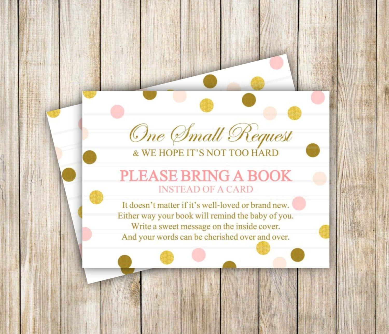 Bring a Book Baby Shower Pink Gold Card Insert Book Insert