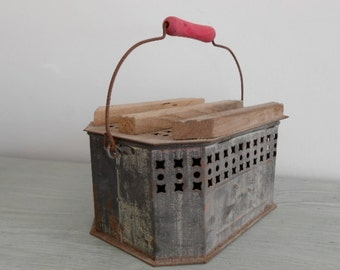French Foot warmer from around 1920s in wood and steel.