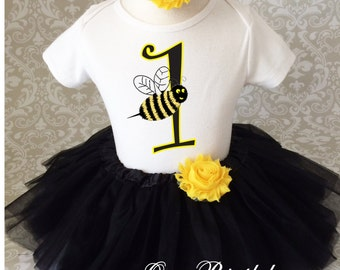 Fast Shipping - Birthday Yellow Black Buzz Bumble Bee 1 first 1st Shirt & Tutu Set Girl Outfit Party Dress 6 9 12 18  month