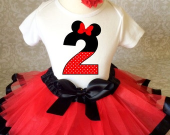 Birthday Red Black Minnie Mouse Inspired Ears Polka dots 2nd Second Shirt & Tutu Set Girl Outfit Party Dress 12 18  2t 3t Headband