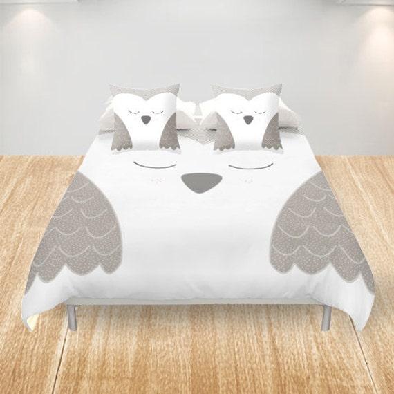 Owl Duvet Cover King Queen Double Full Cover White Gray