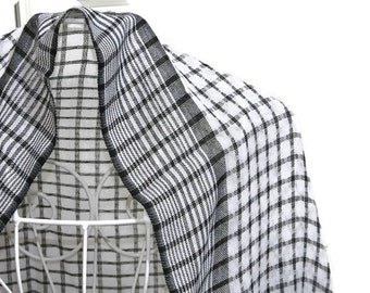 LINEN Scarf. Pure Linen Scarf. Black White plaid linen scarf. Woman Scarf Man scarf linen. Birthday gift for him for her
