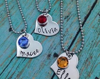Personalized Name Monogram Heart Necklace with Swarovski Crystal Birthstones - Valentine's Day - Girlfriend Gift - Birthday Gift - Daughter