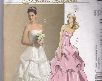 McCalls 5321 Vintage Pattern Wedding Gown, Bridesmaid Dress, Prom Dress Strapless 2 Piece Gown Size 14,16,18,20 UNCUT