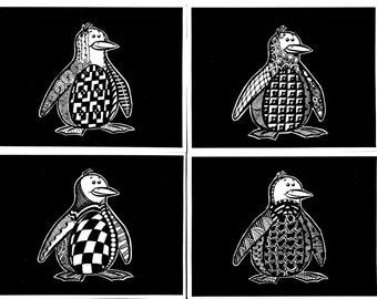 Zentangled Penguin Cards. Blank inside, original artwork outside!