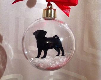 Pug Silhouette in Snow Acrylic Bauble can be Personalised