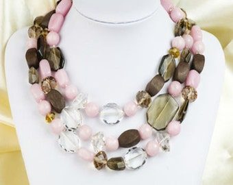 Beads glass Necklace pink Beads necklace beaded strands necklace