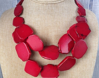 Red turquoise necklace double strands stone bib statement necklace