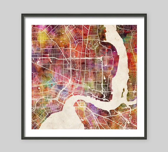 JACKSONVILLE Map Florida Watercolor Painting Old Paper