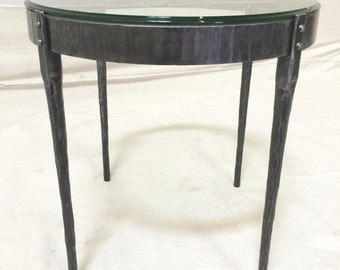 Forged Steel Side Table with Glass Top