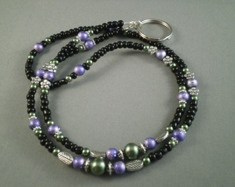 "Unique beaded lanyard necklace with bead chain 32"" to 40"" ID badge holder leash , e cig pen holder ,key card or keychain holder , cute"